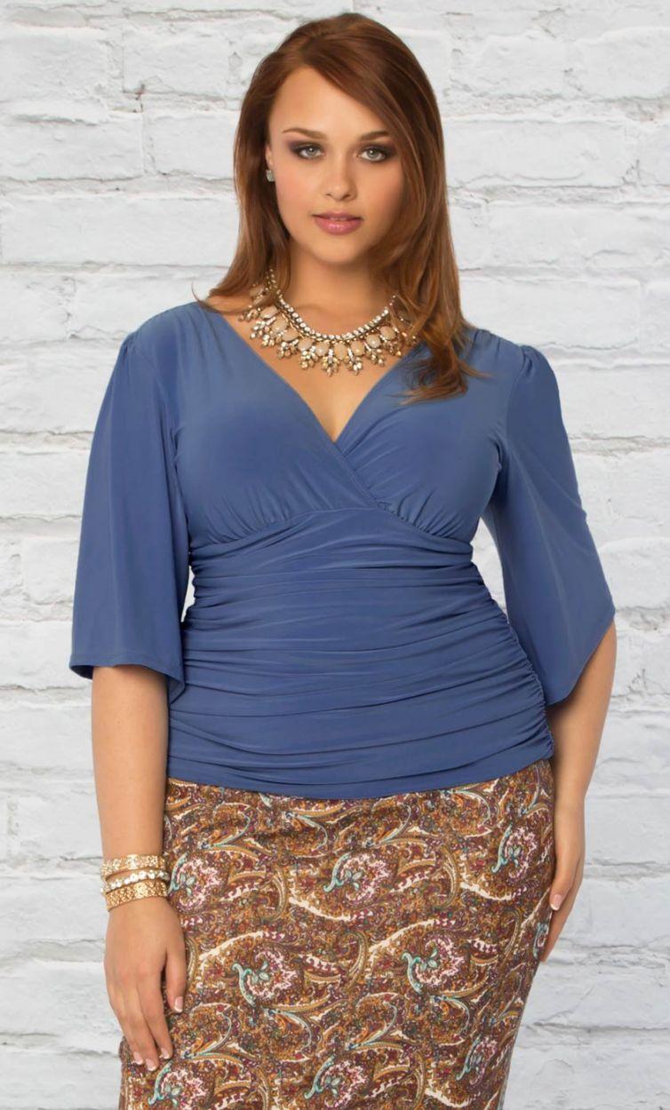 Keira Kimono Sleeve Top in Serenity Blue.