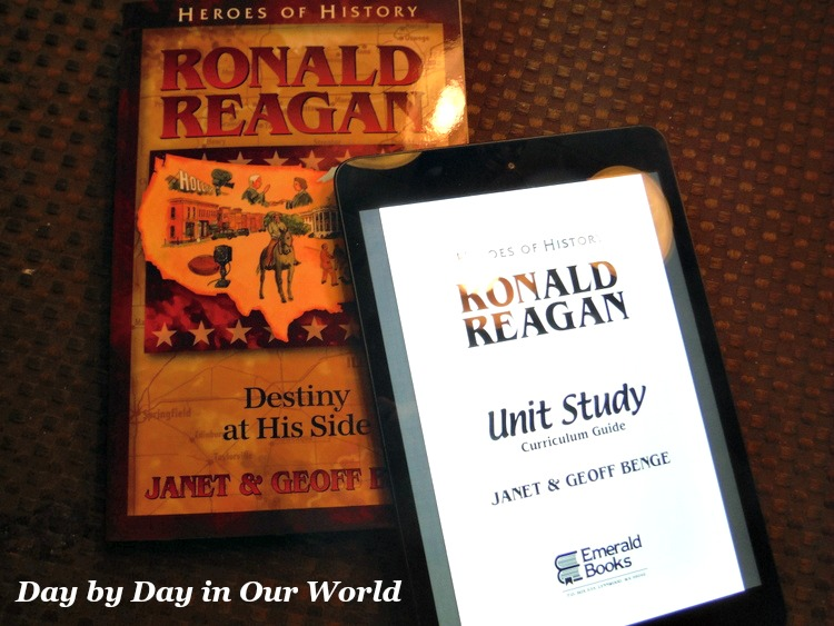 We opted to use a mini iPad for the unit study pdf of Heroes of History Ronald Reagan.