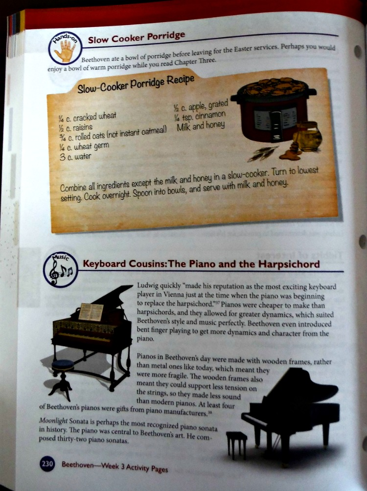 Sample Page from the study of Beetoven in Music Appreciation for Elementary Grades by Zeezok Publishing.