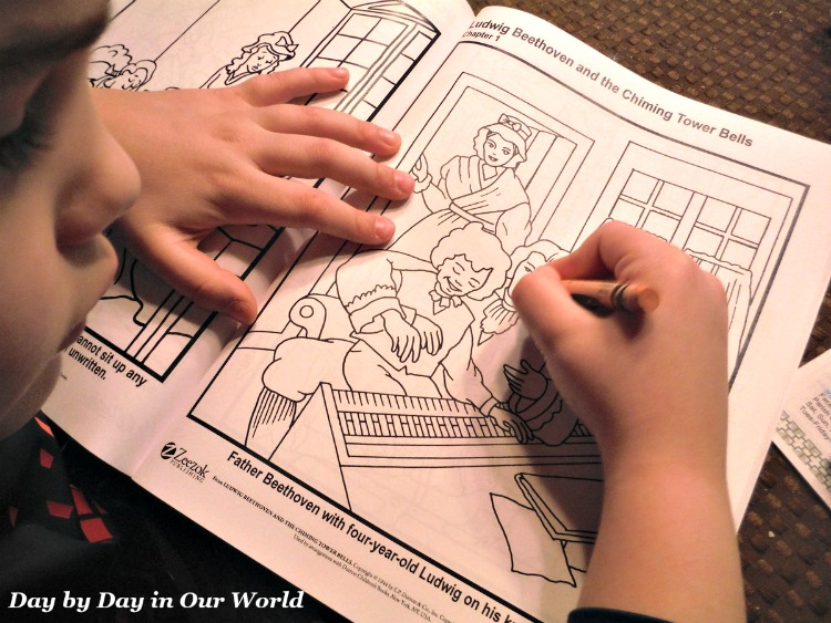 We ordered a copy of the Music Appreciation for Elementary Grades Coloring Book for my 6 year old son to use.