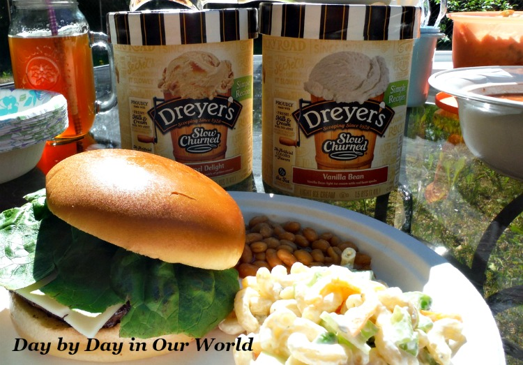 Creating Family Memories with a backyard barbecue featuring homemade macaroni salad and DREYER'S Ice Cream #SweeterTogether
