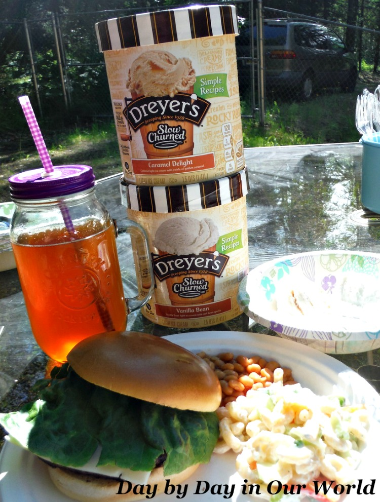 Warm summer weather means grilling at our Alaskan home. Burgers with macaroni salad and DREYER'S Ice Cream for dessert are the perfect combination. #SweeterTogether #Ad