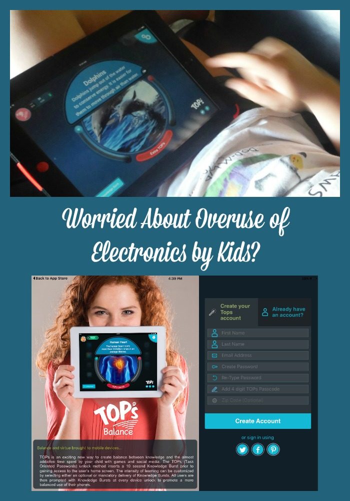Worried About Overuse of Electronics by Kids TOPS Balance is an app that can help