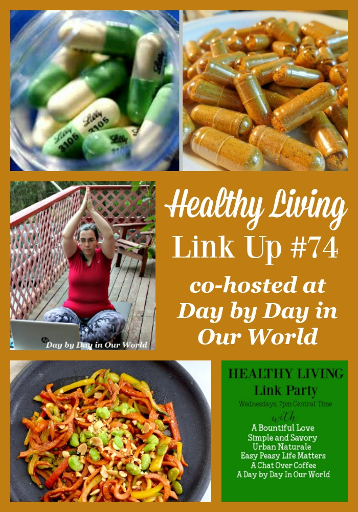 Turmeric, Sweet Potato Pasta, and Yoga are all featured in Healthy Living Link Up #74 at Day by Day in Our World.
