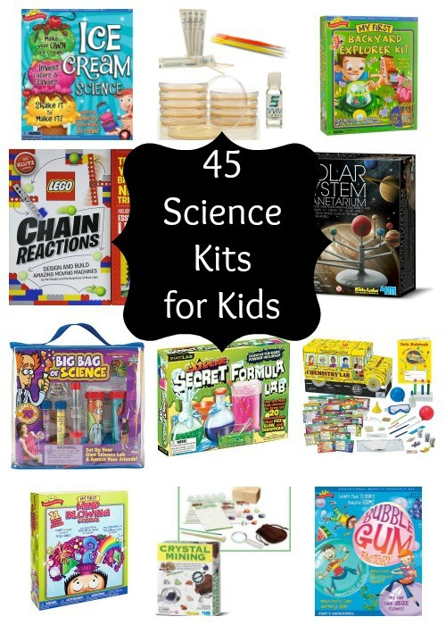 45 Science Kits for kids that encourage STEM learning. These are great for homeschool science or as a gift.