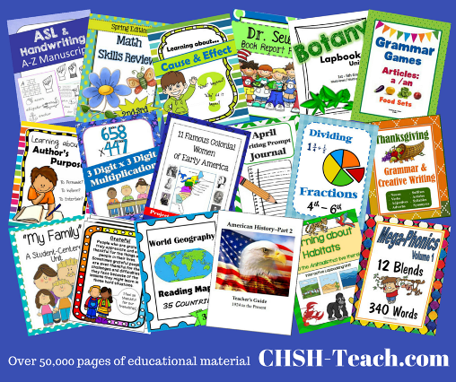 CHSH-Teach.com offers a ton of homeschool curriculum resources for the Christian educator.