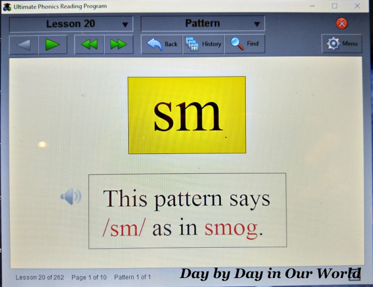 Example of an early consonant blend in Ultimate Phonics Reading Program.