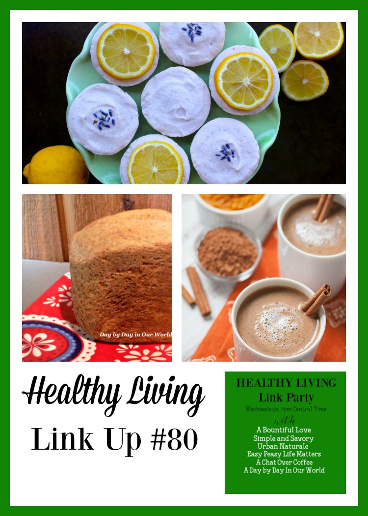 Pumpkin Hot Chocolate, Lemon Vegan Cheesecake,s and Irish Potato Bread are featured in Healthy Living Link Up #80.