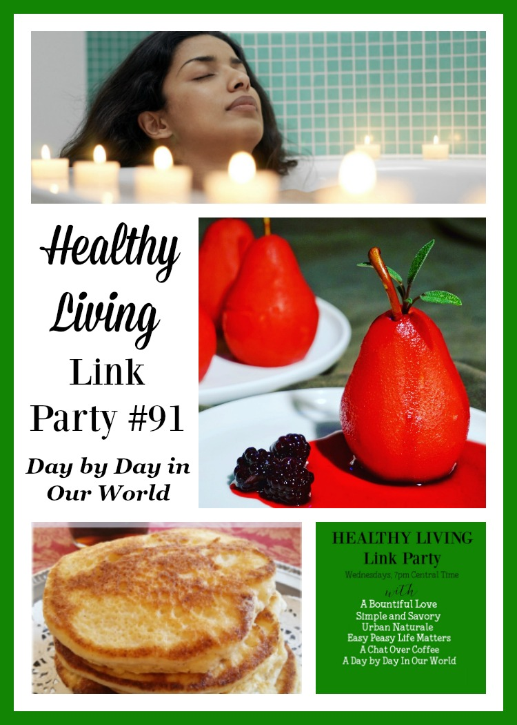 Eggnog Ricotta Pancakes, Poached Pears and Pampering Yourself on the cheap. All Featured in Healthy Living Link Party #91.