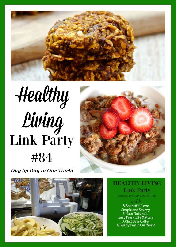 Pumpkin No Bake Cookies Homemade Cereal and Spiralized Veggies? They are all featured at the Healthy Living Link Party on Day by Day in Our World.