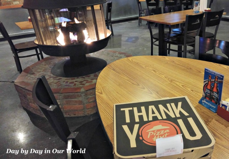 A freestanding fireplace in our local Pizza Hut is inviting even when you ordered takeout.