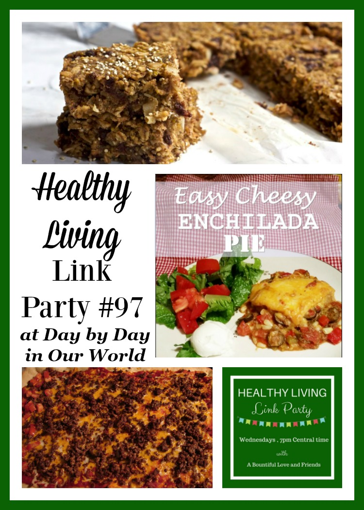 Cheeseburger Pizza, Soup, Snack Bars and more are featured in Healthy Living Link Party #97.