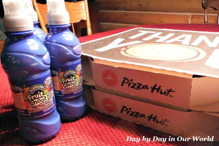 Takeout from Pizza Hut including Fruit Shoot makes for a great family meal in the winter.