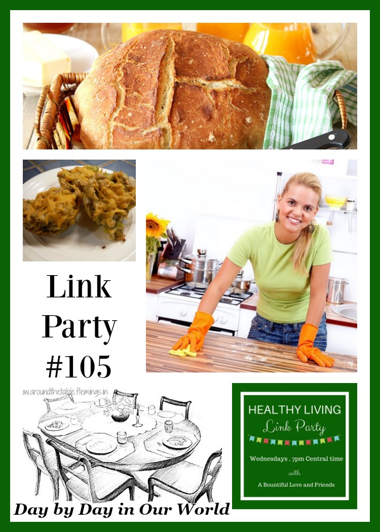 Healthy Living Link Party #105 with featured posts at Day by Day in Our World.