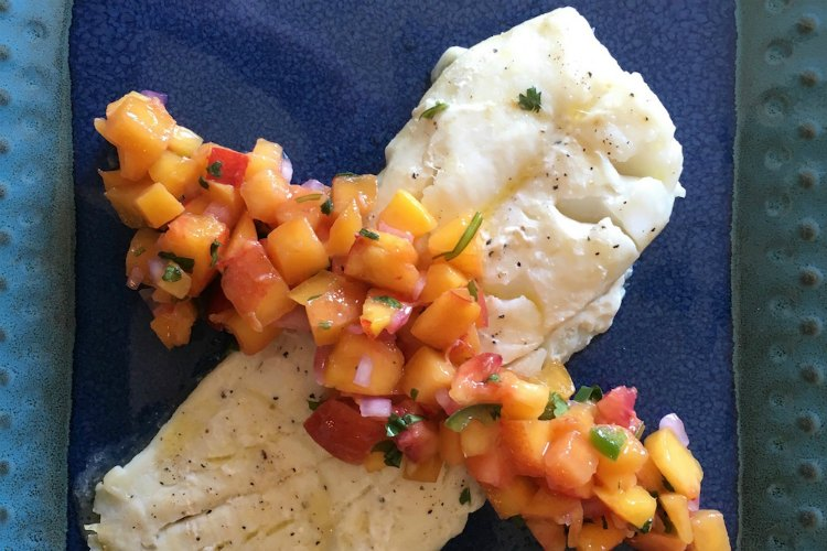 OrangeRoughy Baked with Citrus and Served with Salsa