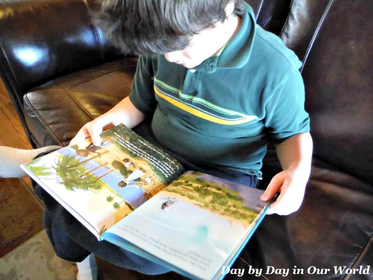 Reading Meeting Moses, the first title in the Meeting Bible Heroes Series of Christian children storybooks.