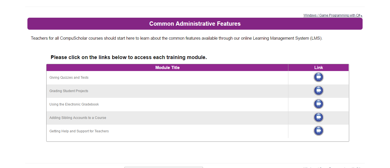 Common Administrative Features for All CompuScholar Courses