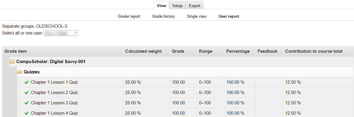 CompuScholar Screenshot of Report Page Listing all components for the class.