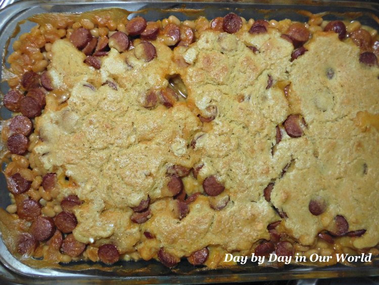 Hot dog casserole ready to serve for a hearty meal.
