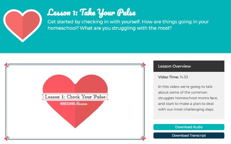 """Homeschool Rescue begins by taking your """"pulse"""" to see where you are at so you can better determine where to go."""