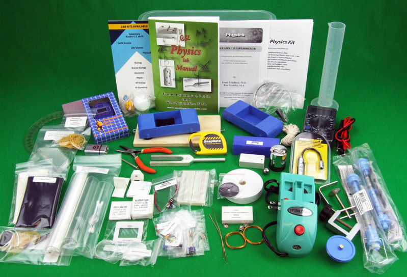 Complete contents in the Quality Science Labs Physics kit