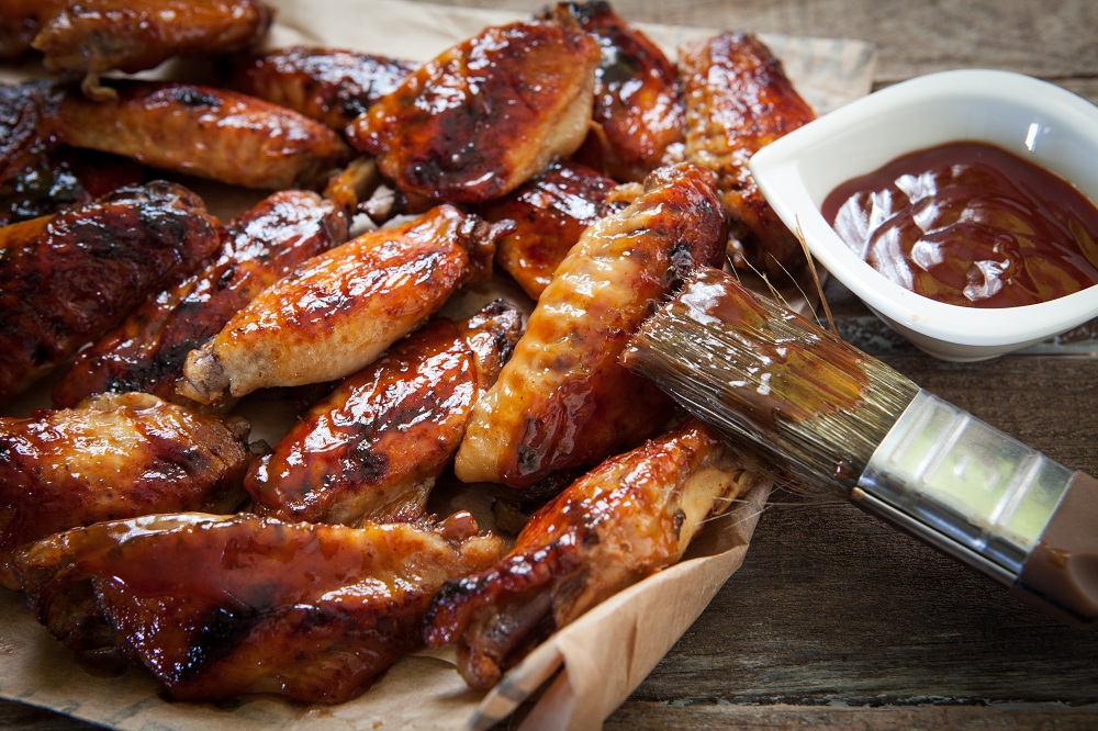 Baked BBQ Chicken Wings ready to eat