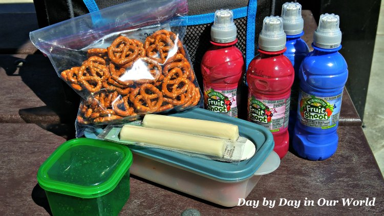 Lots of handheld food for snacking and Fruit Shoots to drink make summer activities more enjoyable.