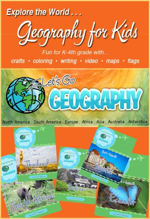 Let's Go Geography is a kids homeschool geography curriculum for early elementary grades.