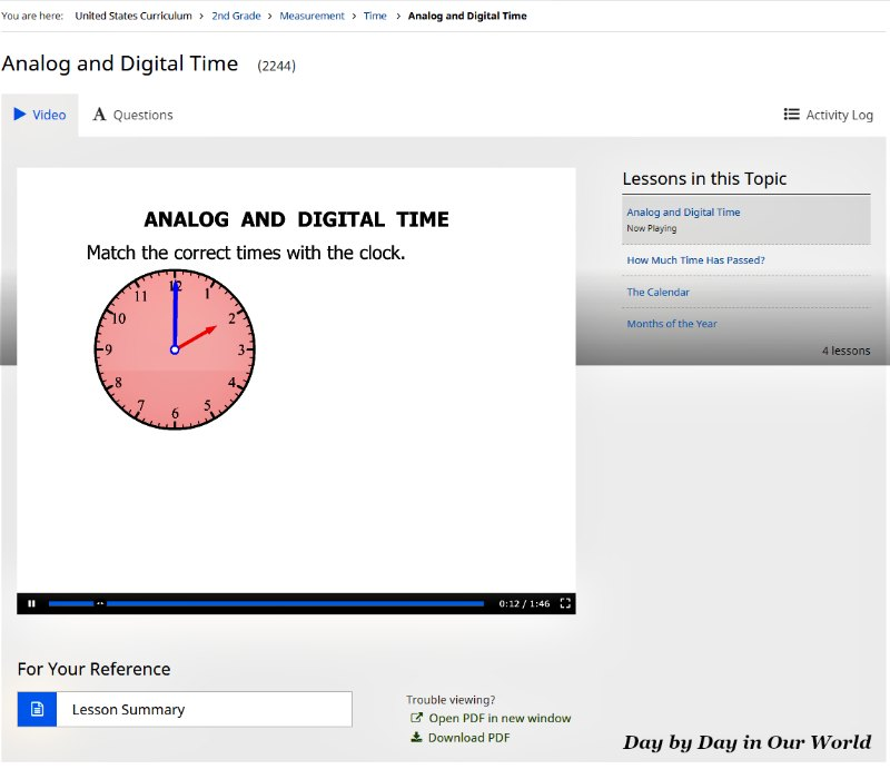 Inside a lesson on time for 2nd grade in CTCMath Video Tutorial page