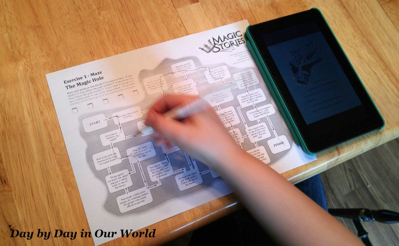 The Maze page for each of The Magic Stories is the only one my son will complete on paper for now.