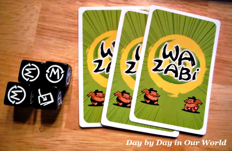 Each player gets 4 dice and 3 cards when play begins in Wazabi