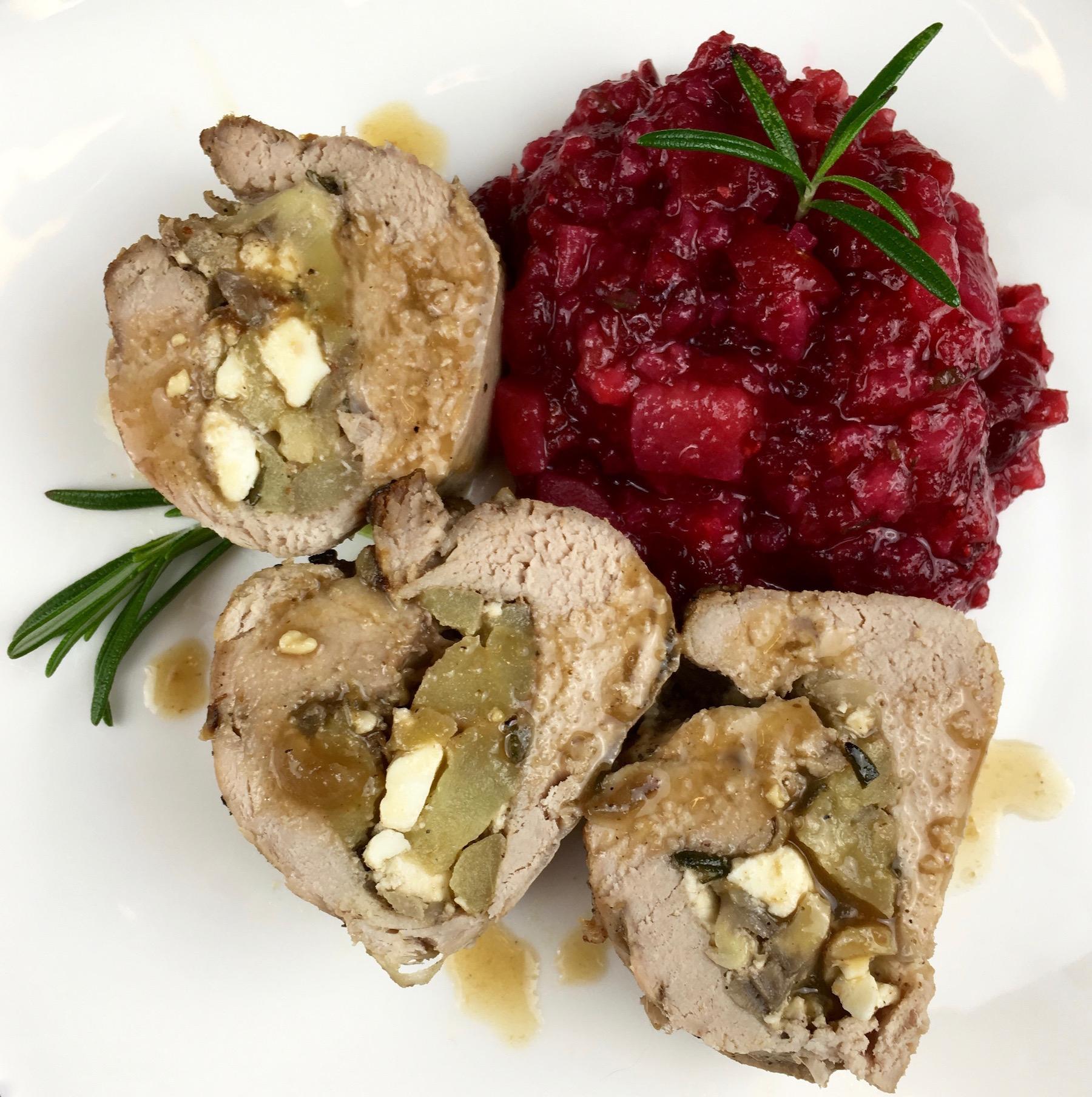 Pork Tenderloin plated for dinner