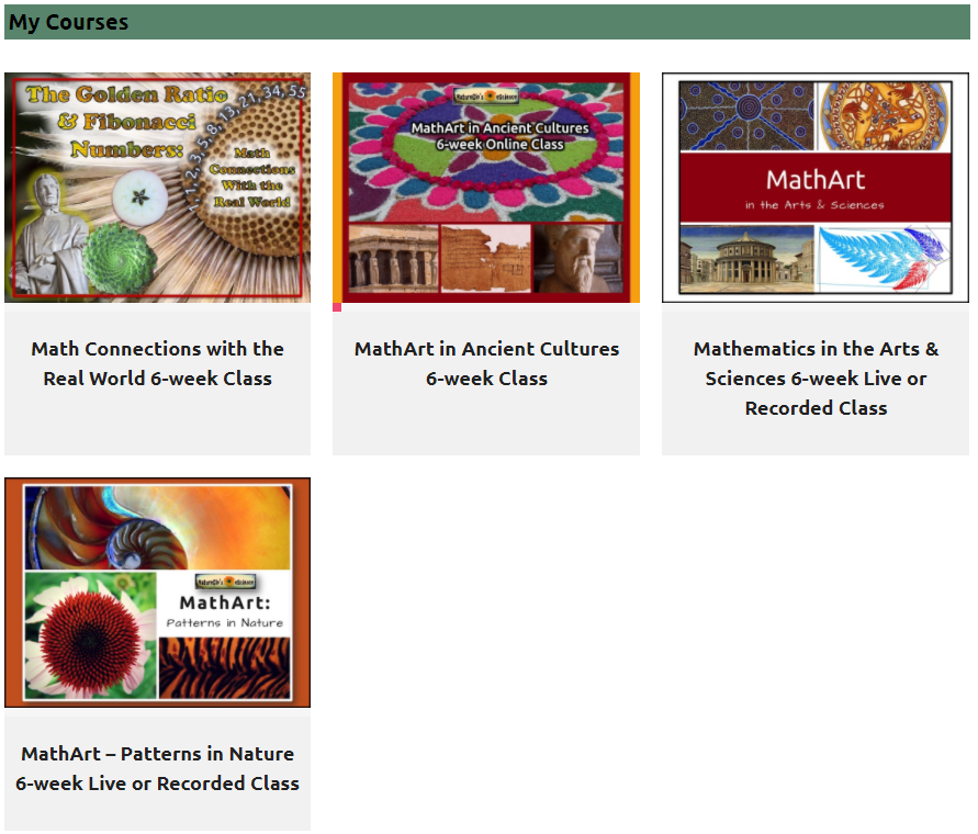 MathArt Online Courses Shown in Student Dashboard