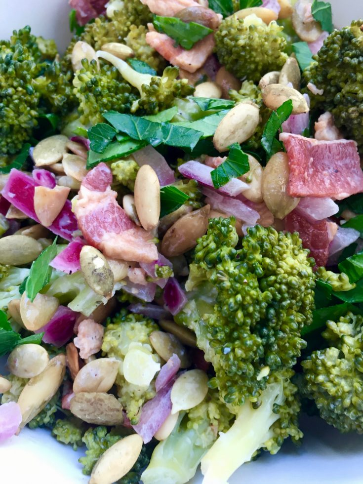 Broccoli Bacon Salad with Toasted Pumpkin Seeds