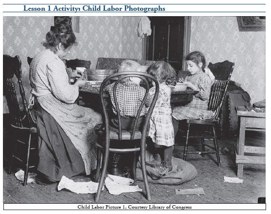 Example of historical photo in Labor Day Unit Study