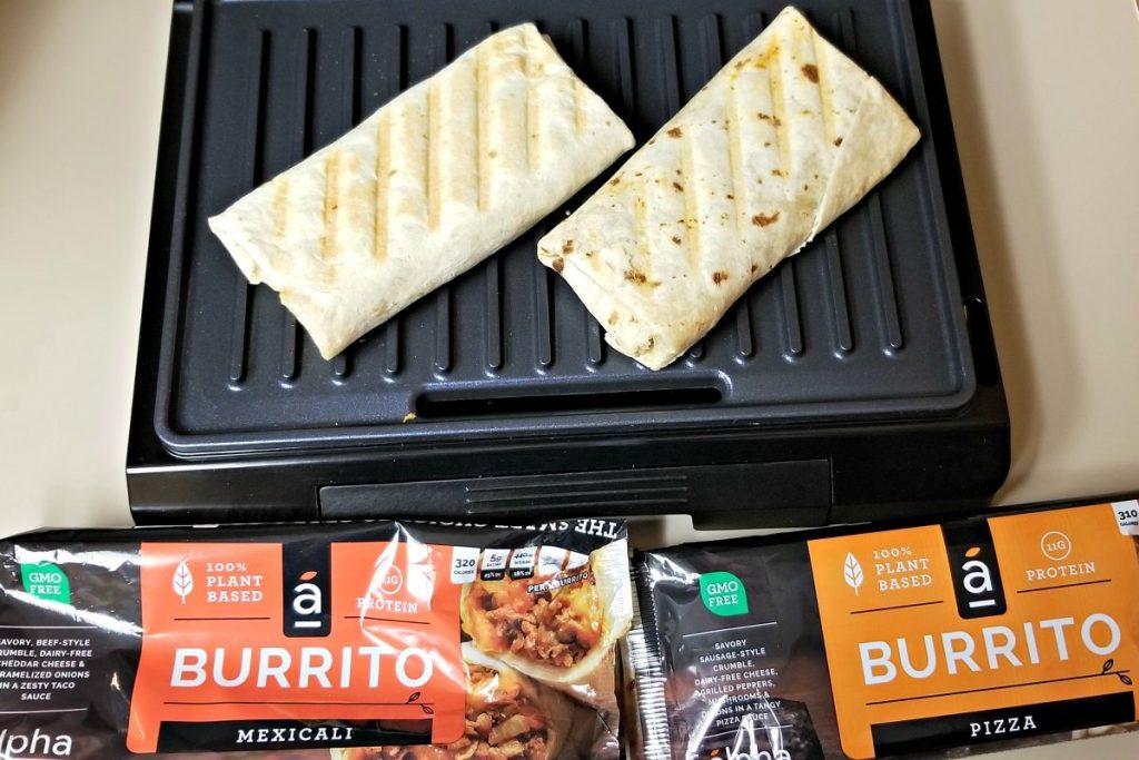 Using Panini Press to Finish Cooking Alpha Burritos