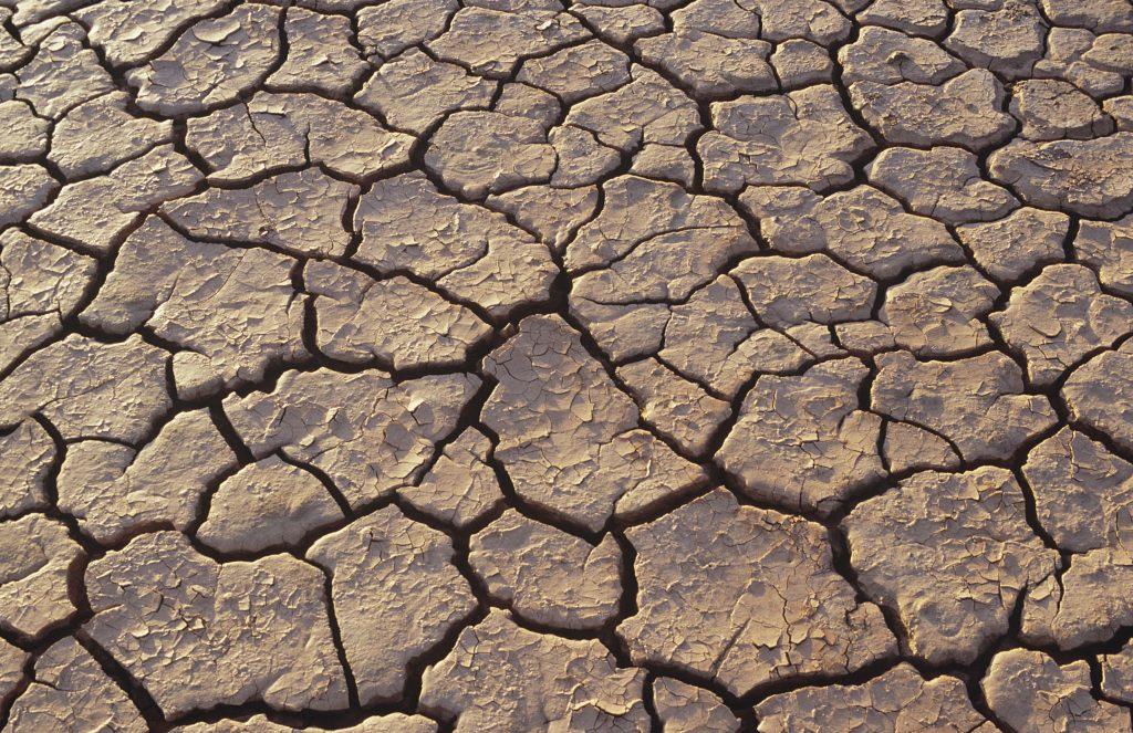Cracked dry ground in desert