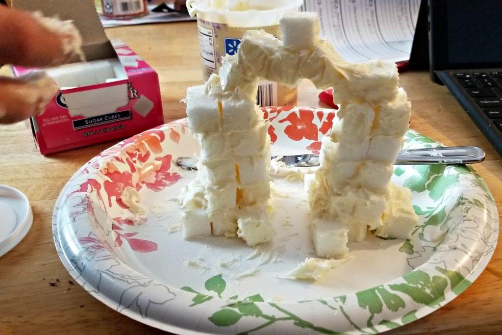 Constructing Sugar Cube Arch