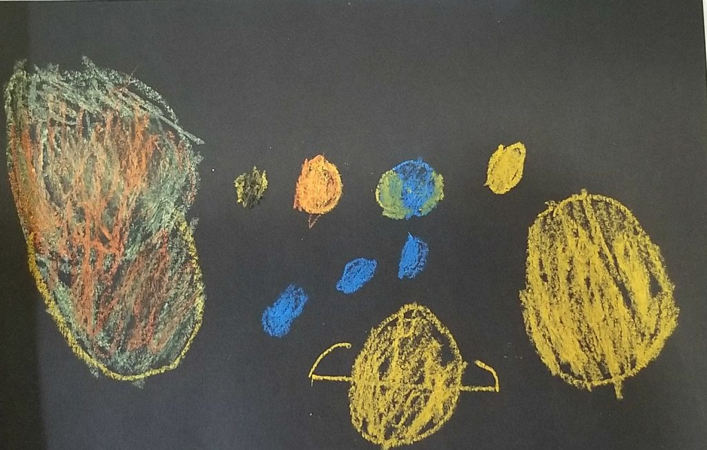 Chalk Drawing of Solar System