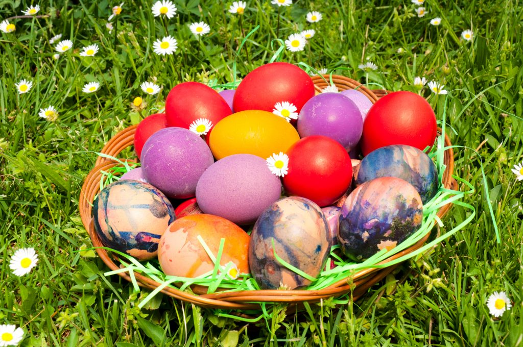 Easter eggs in the wooden basket