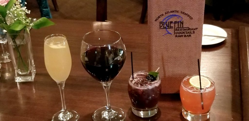 Cocktails and Wine at BlueFin Restaurant Portland Maine