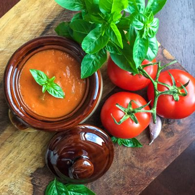 Tomato Basil Soup Made Easy in a Pressure Cooker